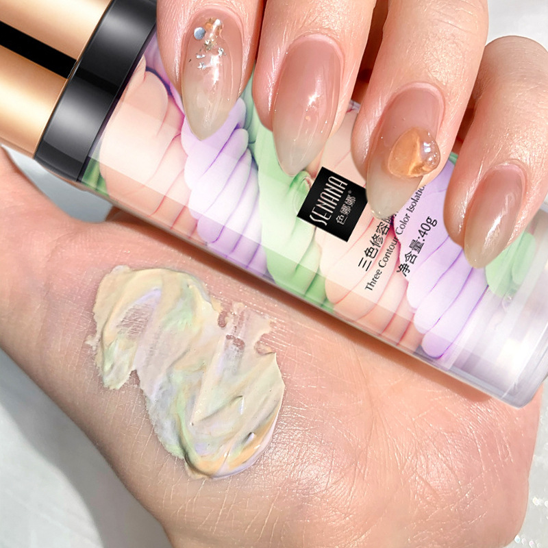 Three-color Isolation Lotion Correct Rainbow Concealer Makeup Base Pre-milk Cream Matte Cover Pores Brighten Face Liquid