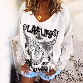2020 Plus Size Hoody For Women Sweatshirt Hippe Animal And Letter Print Clothes Cop Tops Ladies Casual Baggy Blouses Haut Femme image