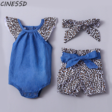 Baby Girls Clothes Set Toddler Infant Fly Sleeve Patchwork Bodysuit Tops+Shorts+Hairbands 3Pcs Children Kids Clothing Suit