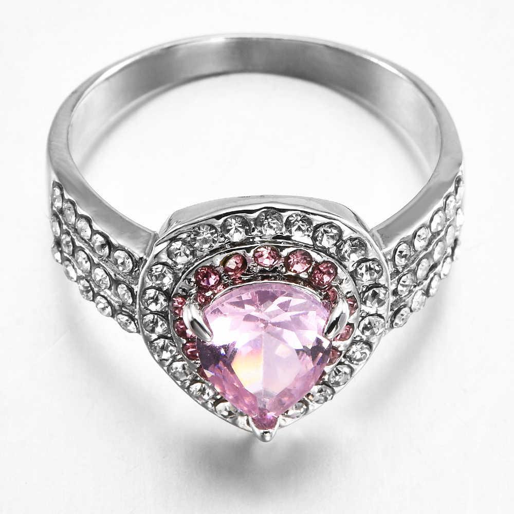 2019 nova moda grande rosa zircon pedra anéis de prata para as mulheres moda casamento noivado jóias navio da gota atacado