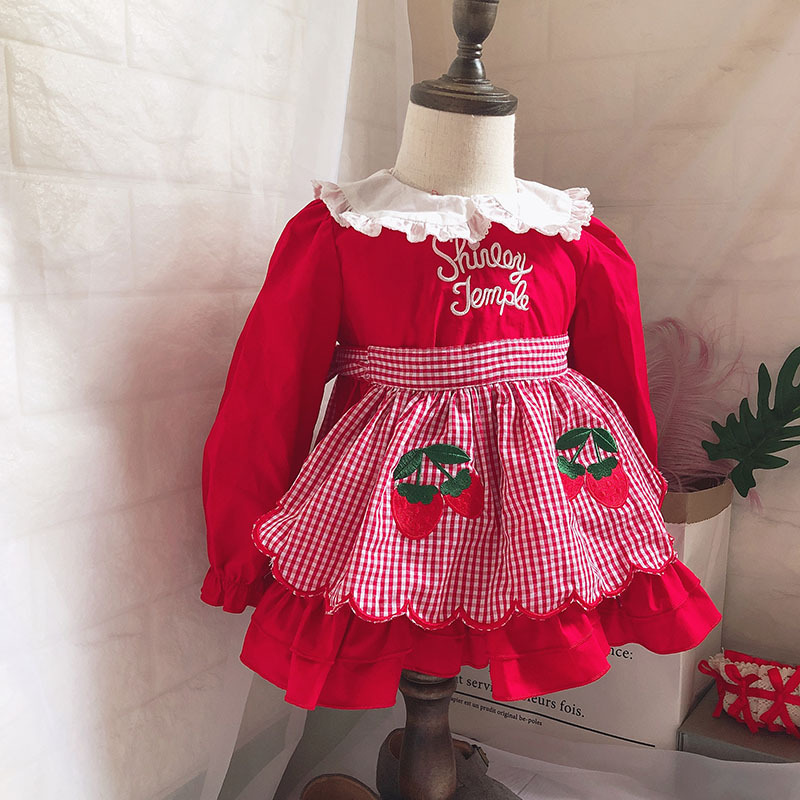 Japanese Autumn Fake Two-piece Girl Strawberry Plaid Dress Simple Fashion Maid Wind Dress Red Lapel Toddler Christmas Dress