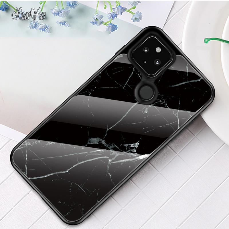 Cover For Google Pixel 5 Case Silicone Frame Coque For Google Pixel 5 XL Case Colorful Glass Hard Cover For Google 5 XL