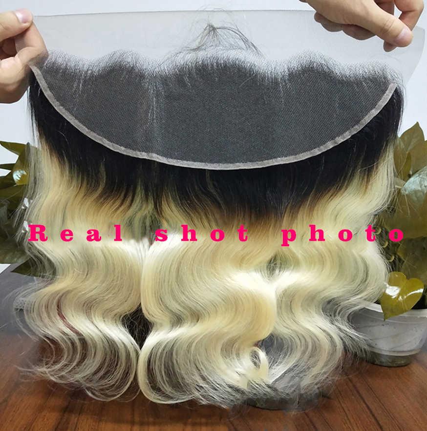 Kolor ombre 1b blond koronkowa przednia środkowa i wolna część szwajcarska koronka przód brazylijski włosy ciało fala kolor 1b613 Ross ładna marka