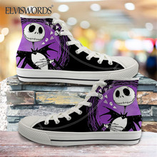 ELVISWORDS 2020 Hot Sale The Nightmare Before Christmas Women Casual Vulcanized Shoes