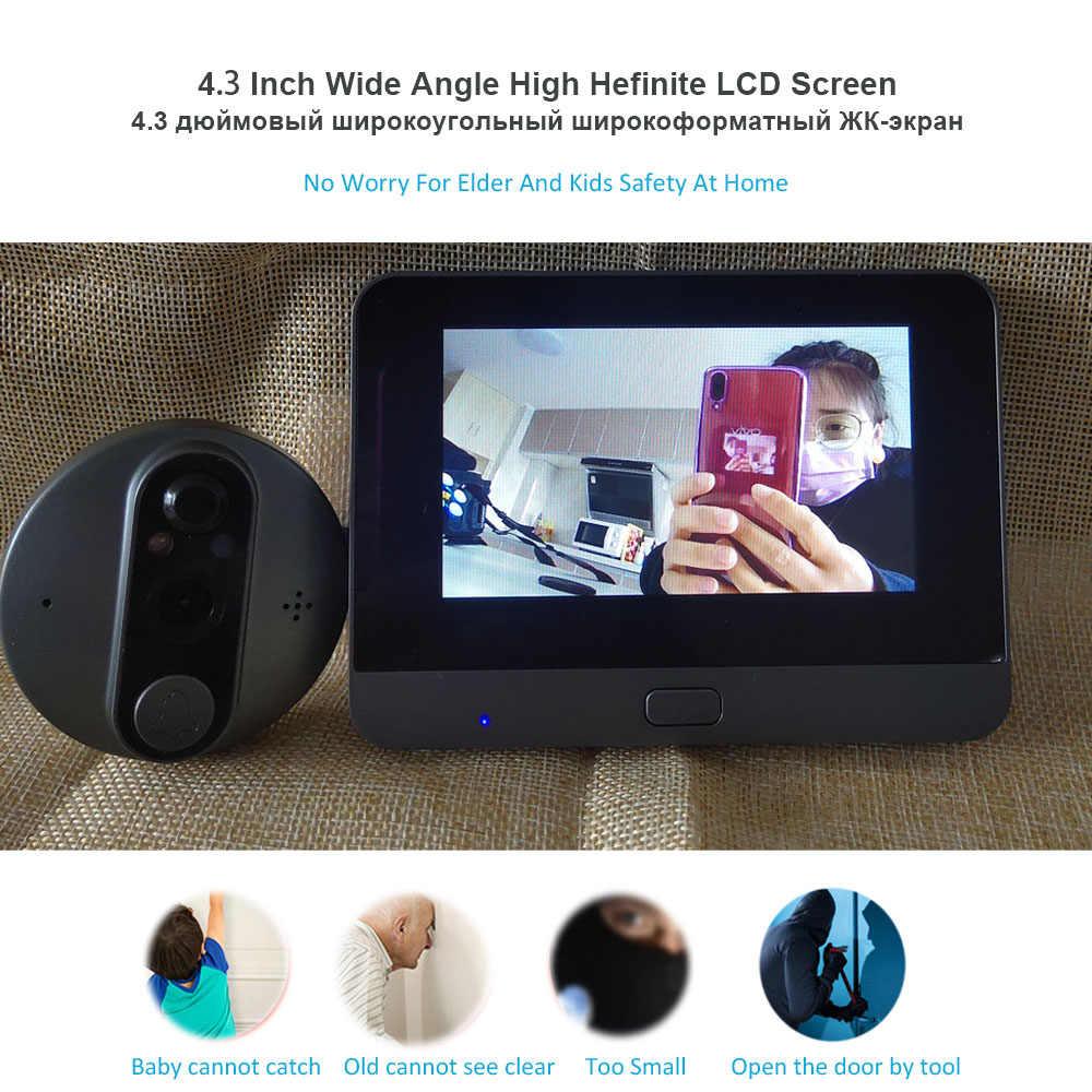 "Topvico Tuya جرس الباب ثقب الباب كاميرا واي فاي الجرس فيديو إنترفون 4.3 ""LCD كشف الحركة فيديو-العين عارض حلقة لاسلكية"