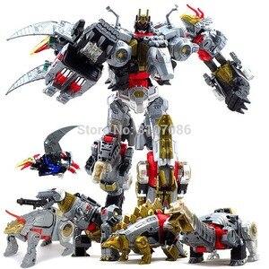 Image 1 - Robot de figurine 5 en 1, jouets de Transformation Dinoking volcanus Grimlock, boue, snarm Swoop slash Dinobots 5 en 1