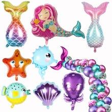 Mermaid parti balonlar 32 inç numarası folyo balon çocuklar doğum günü partisi süslemeleri bebek duş dekor helyum Globos deniz altında