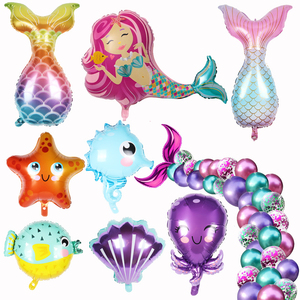 Mermaid Party Balloons 32inch Number Foil Balloon Kids Birthday Party Decorations Baby Shower Decor Helium Globos under the sea