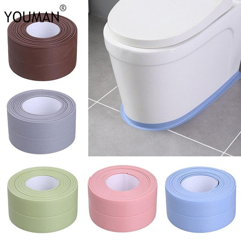 Kitchen DIY Self Adhesive Wallpaper Border Tape Waterproof White Mildewproof Sealing Sealant Strip Mosaic PVC Wall Decor Sticker