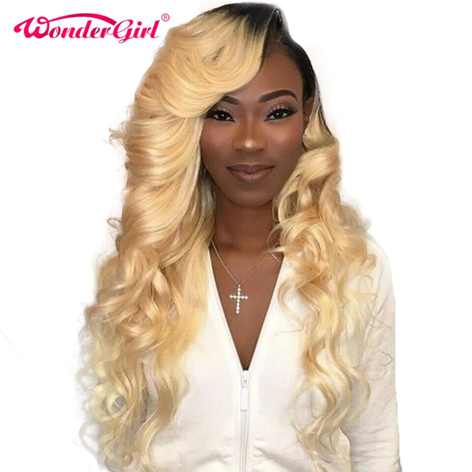 613 Lace Front Wig Body Wave Pre Plucked 13x4 T1B/613 Blonde Lace Front Human Hair Wigs Remy Colored Brazilian Lace Wig #1B