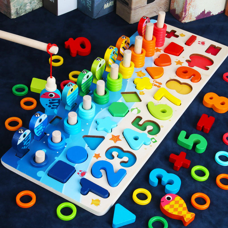 Montessori Educational Wooden Toys For Children Kids Busy Board Math Fishing Preschool Wooden Montessori Toys Count Geometric