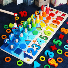 Montessori Educational Wooden Toys For Children Kids Busy Board Math Fishing Preschool Count Geometric