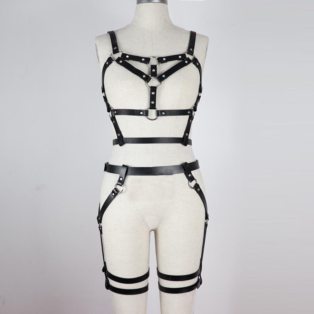 Image 4 - CKMORLS BDSM Bondage Leather Belt Harness Sex Toys For Women Adult Game Outfit Bra And Leg Suspenders Straps Garter Erotic Set    -