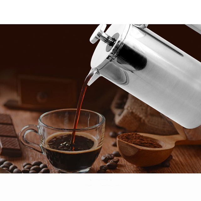 Rustfrit stål dobbeltisolering kaffe te potte