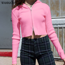WannaThis Ribbed Knitted Cotton Basic Zipper V-Neck Sweatshirt Long Sleeve Casual Slim Elastic Pink Women Hooded Fall Streetwear bishop sleeve ribbed sweatshirt