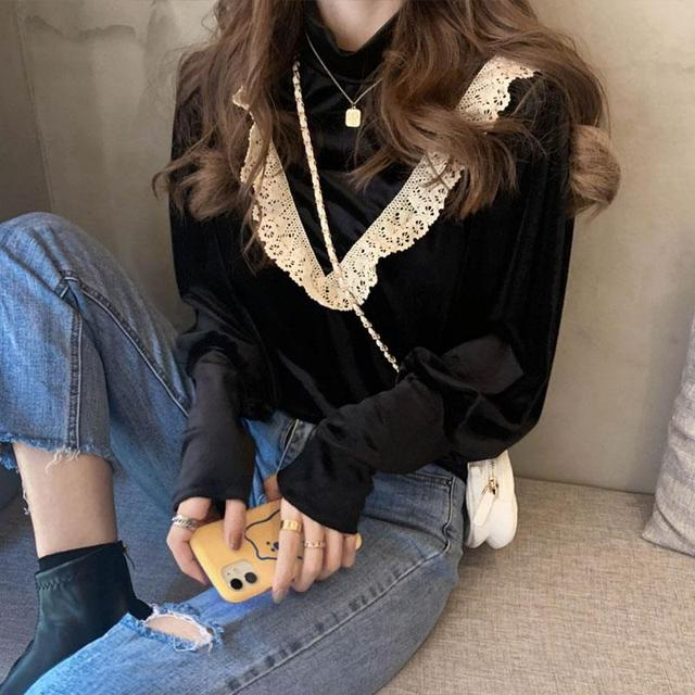 Sllsky Lace Ruffle Patchwork Women Velour Blouse Vintage Long Sleeve Half High Collar Shirt 2020 Autumn Winter Basic Blouse 2