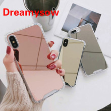 цена на Luxury Mirror Phone Cases COOL Girl TPU+PC Back Cover Anti-knock Protector For iPhone 7 7 Plus Case For iphone X 6 6S 8 8 Plus