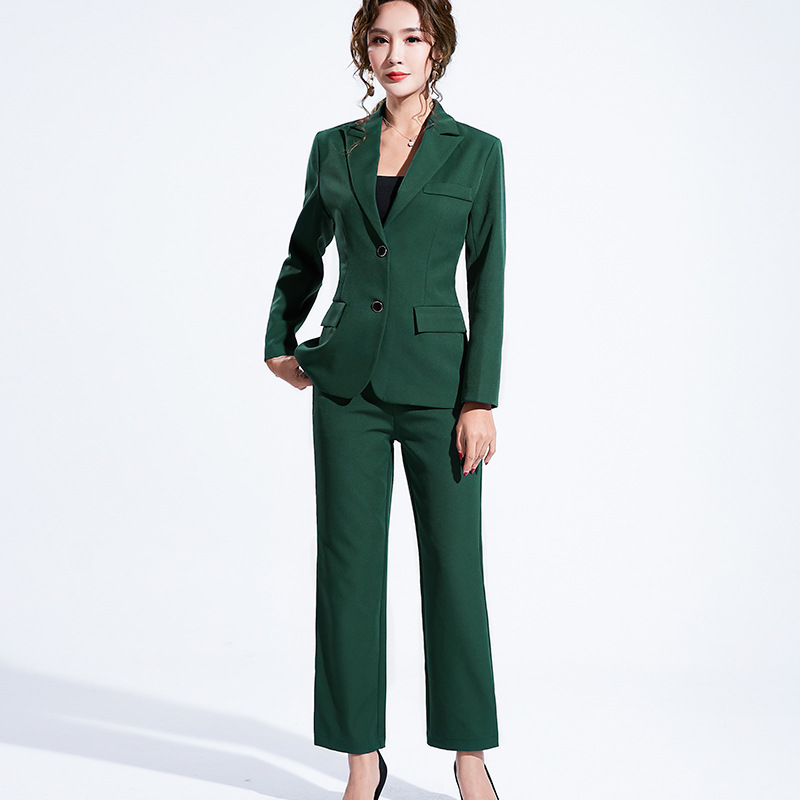 Women's suit 2019 autumn new casual fashion temperament slim slimming solid color single-breasted small suit trousers two-piece 25