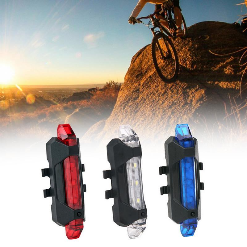 1pc Outdoor Bicycle Light Rear Tail Light LED USB Rechargeable High Brightness Safety Warning Light Portable Cycling Rear Light