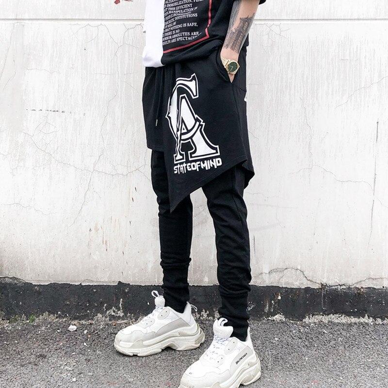 Mode décontracté Punk Cross pantalon cheville longueur pantalon hommes haute rue Hip Hop danseur Harem pantalon 2 pièces épissure mâle - 2