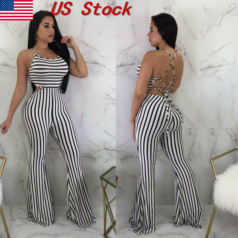 Meihuida Jumpsuit Women Fashion Camisole Rompers Casual Striped High Waist Long Striped Polyester Summer Jumpsuit Dropship