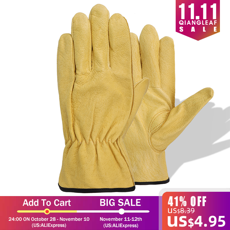 Image 5 - QIANGLEAF New Men's Work Gloves Pigskin Leather Security Protection Safety Cutting Working Repairman Garage Racing Gloves H92-in Safety Gloves from Security & Protection