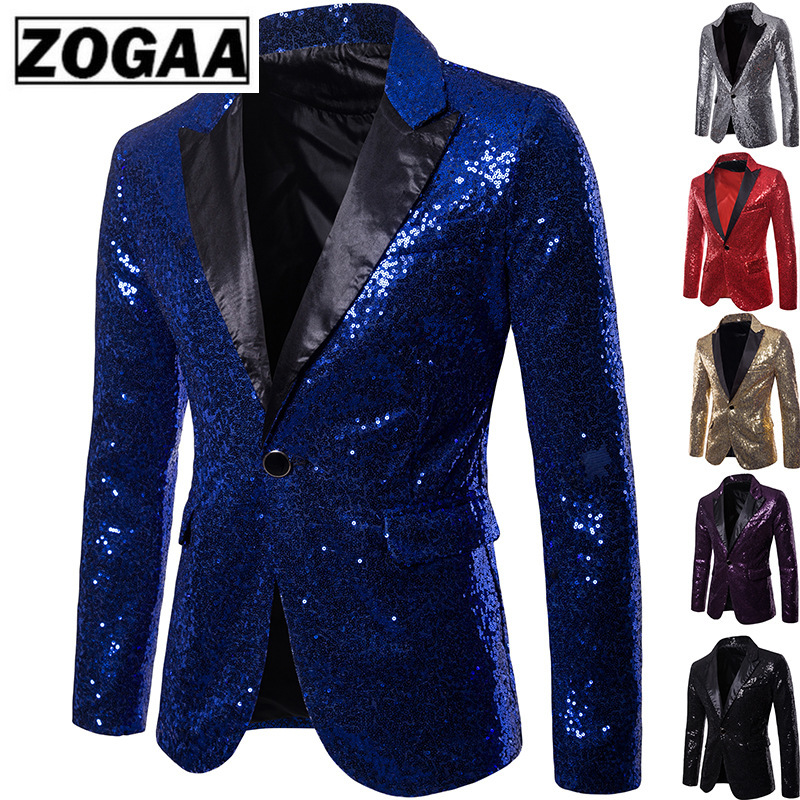 ZOGAA Men's Fashion Black Sequin Blazer Casual Jacket Nightclub Party Stage DJ Singer Costume Homme Slim One Button Suit Jacket