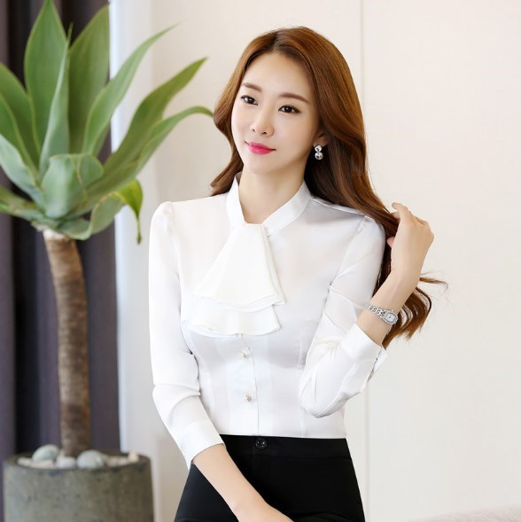Korean Fashion Work Skirts Long Sleeve Shirt Women Work Wear Clothes Womens Slim Formal Tops and Blouses Pink Red White