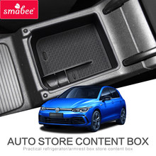 Smabee caixa de armazenamento braço do carro apto para golf 8 mk8 gti gte r 2019 2020 console central acessórios estiva estilo do carro