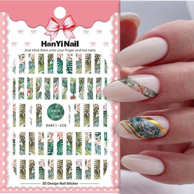 1Pcs Zomer Nail Sticker 3D Zelfklevende Decal Tape Vorm Fruit Blad Bloem Slider Nail Art Transfer Decal Charm manicure Decor