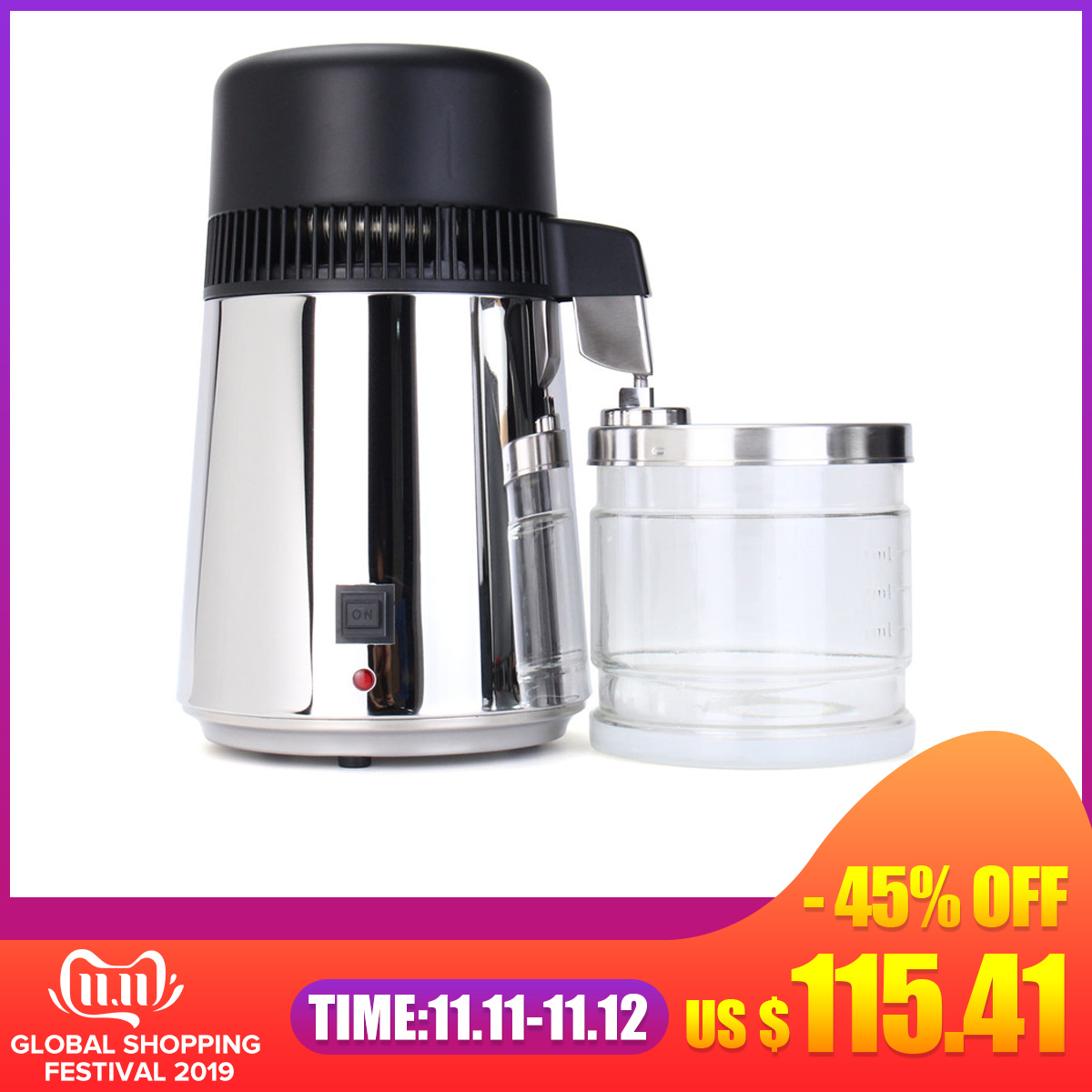 750W 4L 304 Stainless Steel Housing Use Capacity Pure Water Distiller Purifier Container Filter Distilled Water Device 110V/220V