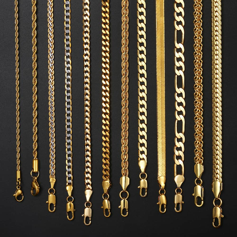 14 Styles Gold Necklace For Men Women Snake Wheat Figaro Rope Cuban Link Chain Gold Filled Necklace Male Jewelry Gift Wholesale