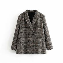 Vintage Chic Women Double Breasted Tweed Check Jacket Fashion Female Turn-Down Collar Plaid Jacket Coats Casual Casaco Femme(China)