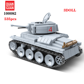 цена на WW2 Military LT-38 German Light Tank Soldier Weapon Building Blocks WW2 Military Tank weapon accessory Bricks Toys For Children