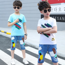 Boys Summer Clothes Set 2019 Color Print T-shirts and Geommetric Jeans Shorts 2pcs Clothes for Boys Kids Outfits for 4 6 8 12Yrs boys don t cry page 6