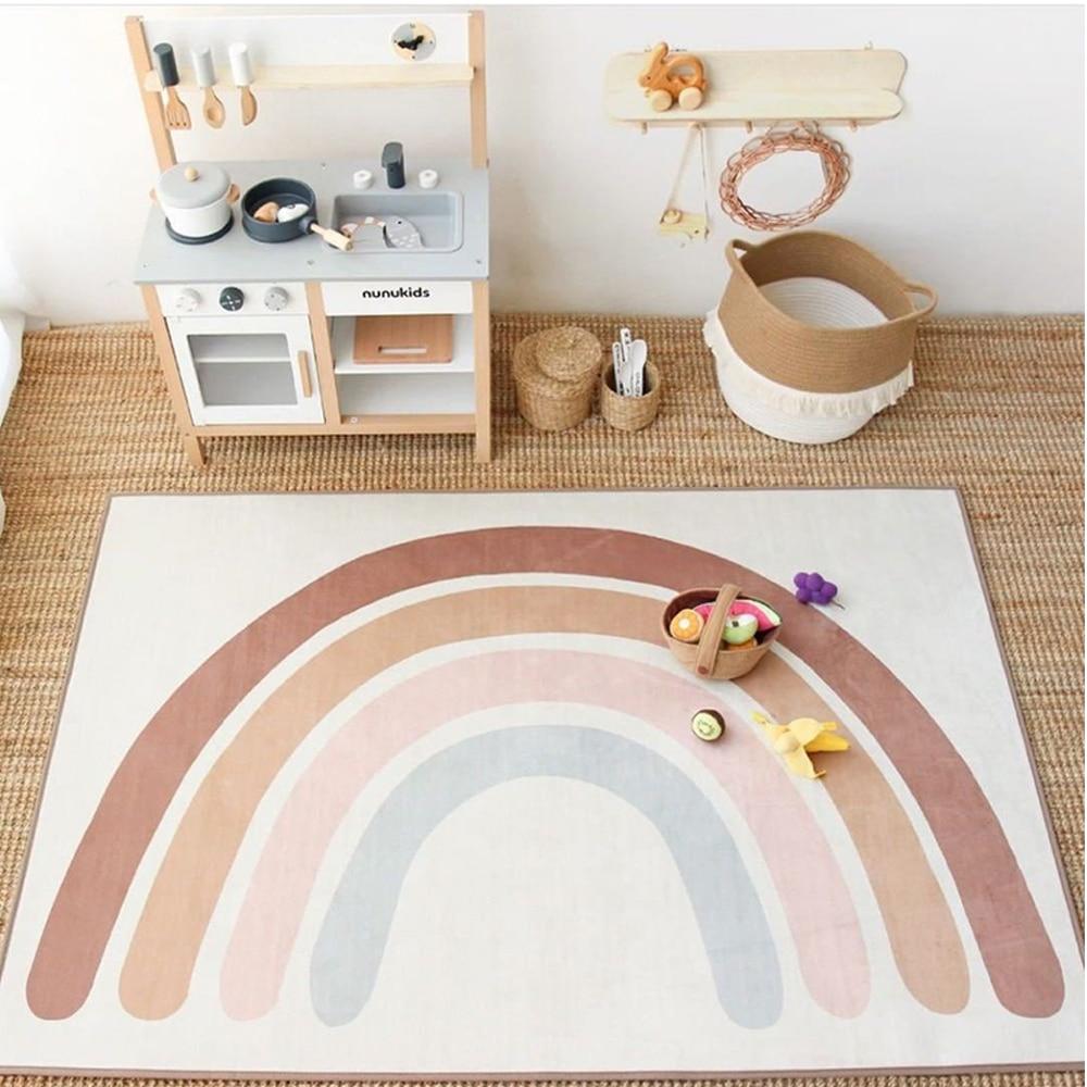 Радужный детский игровой коврик, детский коврик для ползания, напольный коврик, детские палатки, одеяло, спальня, гостиная, Декор, фоторекви...