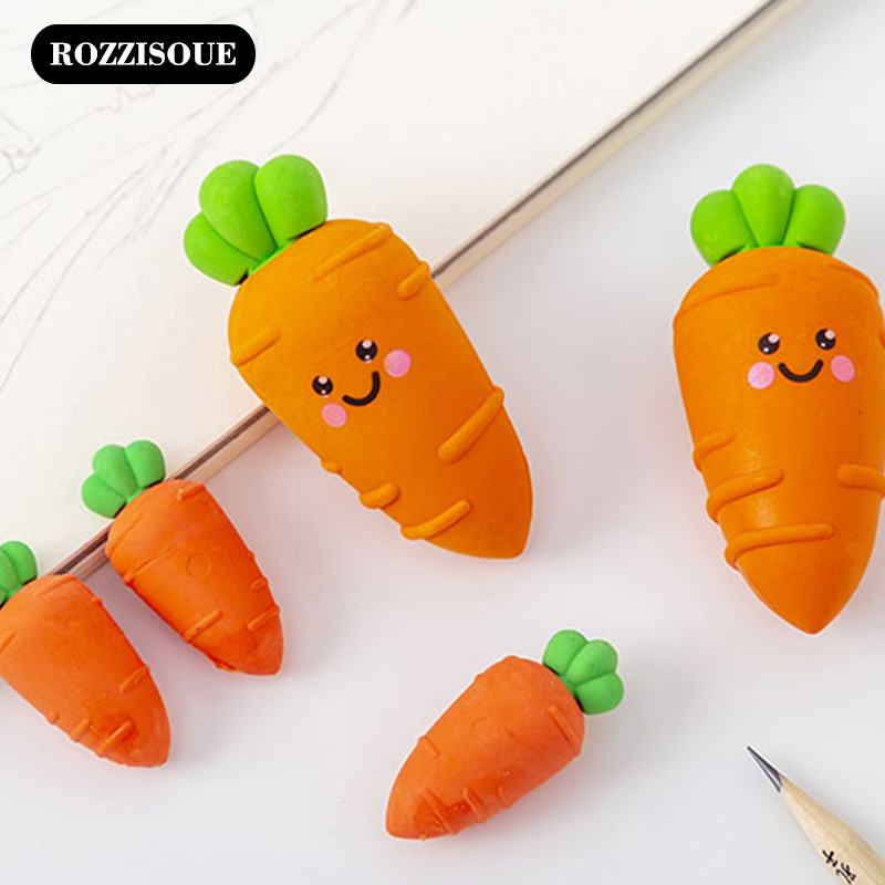5Box Cute Carrot Rubber Novelty Korean Erasers Kawaii Eraser Stationery Items School Erase Supplies Gifts For Students Wholesale
