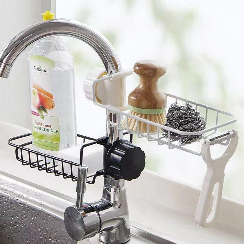 Kitchen Faucet Drain Basket Kitchen Shelves Stainless Steel Storage With Hook Shower Shelves Holder ML801