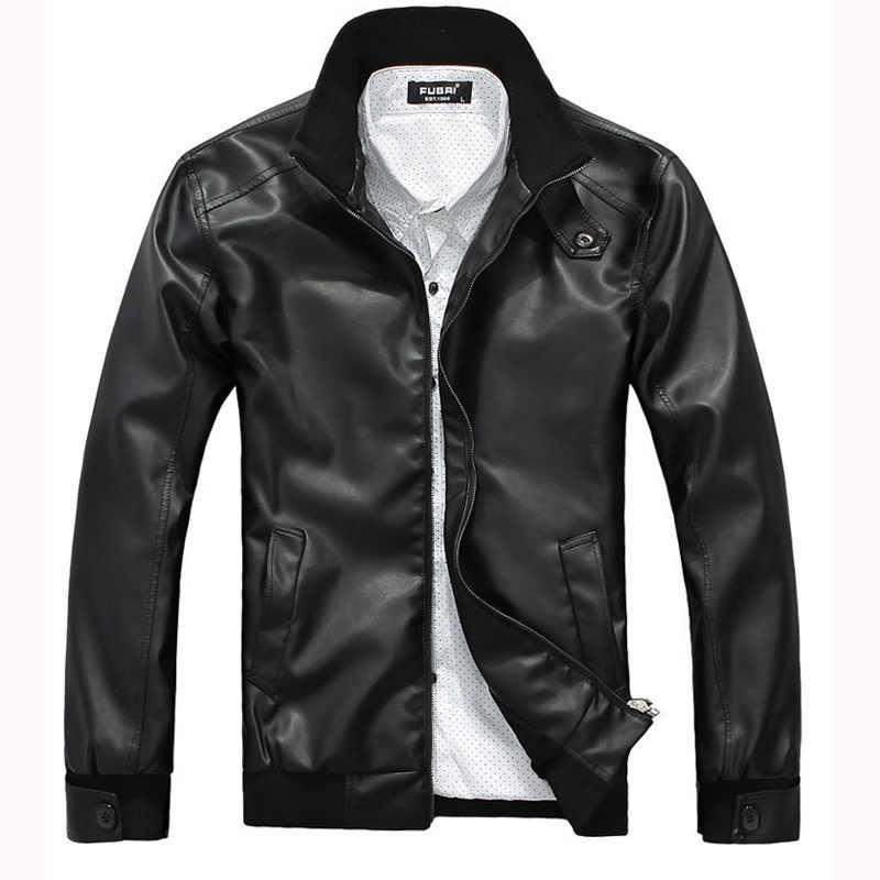 2019 秋と冬の新メンズ男性の革のジャケットは襟ジッパー pu レザージャケットの男性の男性の革ジャケット