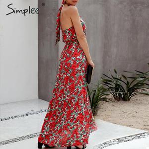 Image 5 - Женское платье с цветочным принтом Simplee размера плюс, без рукавов, с поясом и высокой талией, богемное Макси Платье, повседневные праздничные Вечерние платья на лето