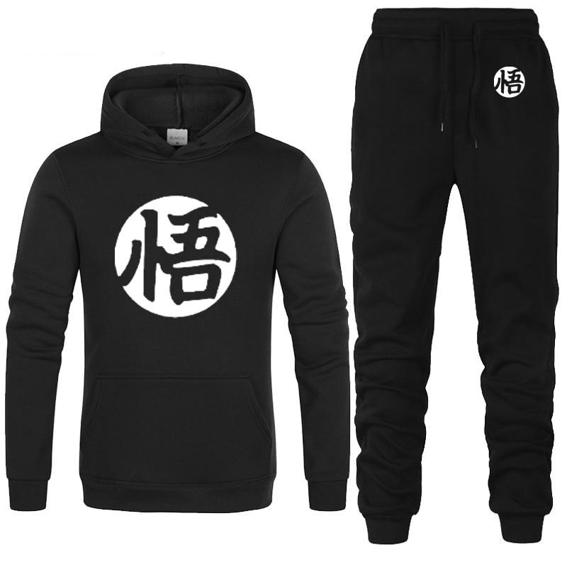 Anime Dragon Ball Z Goku Hoodies Men Casual Sweatshirt Hip Hop Harajuku Fashion Fleece Streetwear Men Hoodies Pants Suit 2Pcs