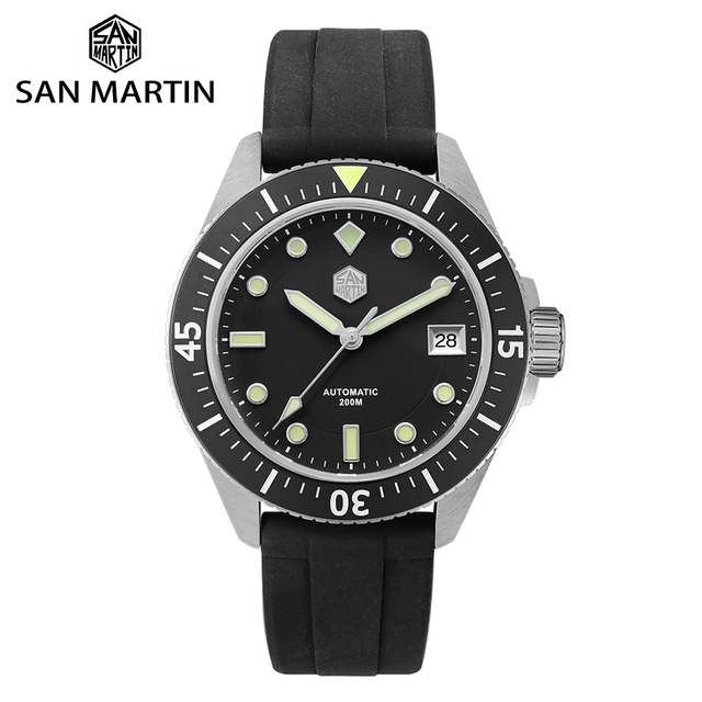 San Martin Diver Men Watch Stainless Steel NH35A Automatic Mechanical Sapphire Glass Rubber Strap Luminous Water Resistant 200M