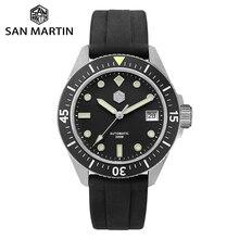 San martin diver relógio masculino, relógio de aço inoxidável nh35a automático, mecânico, vidro de safira, pulseira de borracha, luminoso, resistente à água, 200m