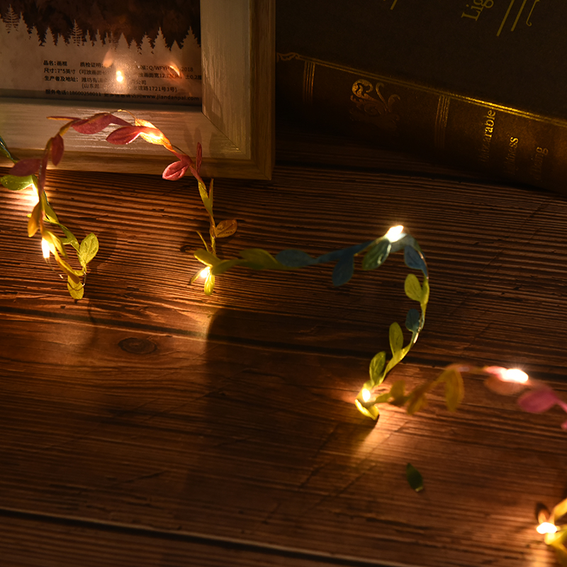 Hot Sale 2M Outdoor LED Leaf Twine Fairy String Lights For Rustic Wedding Holiday Party Event Decoration