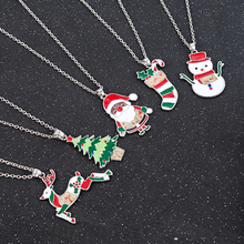 2019 New Fashion Christmas Tree Snowman Santa Claus Women Pendant Necklace Sweater Chain Jewelry Statement Necklace Wholesale