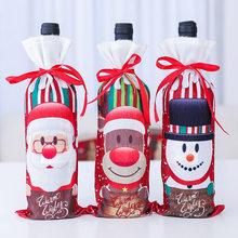 2020 New Wine Champagne Bottle Cover Cloth Cartoon Snowman Old Man Home Party Drawstring Pouch Christmas Decor(China)