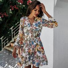 Senhoras floral impressão feminina chiffon vestido casual fino manga longa cintura alta curto mini primavera verão vestido feminino