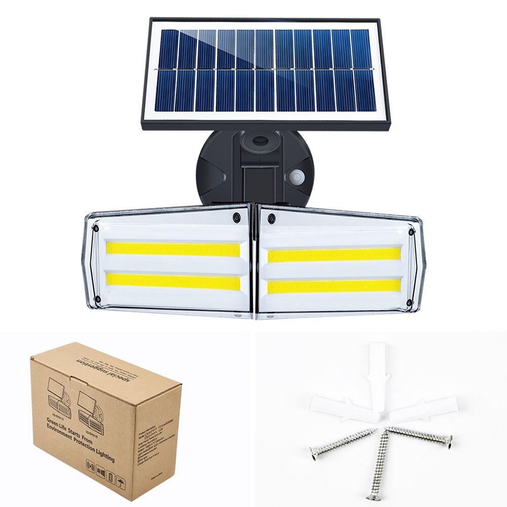 80LED солнечный свет двойной головной солнечный светильник PIR датчик движения водонепроницаемый открытый регулируемый угол для садовой стен