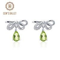 GEM'S BALLET Natural Peridot Vintage Stud Earrings 925 Sterling Silver Bow Drop Ear Studs Women's Fine Jewelry