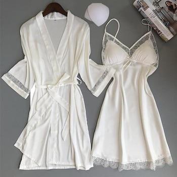 Women Rayon Kimono Bathrobe WHITE Bride Bridesmaid Wedding Robe Set Lace Trim Sleepwear Casual Home Clothes Nightwear